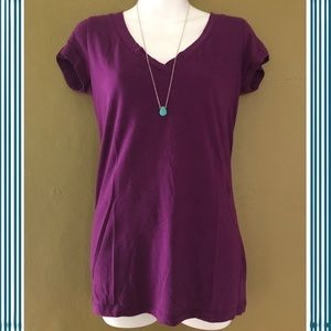A.N.A. Plum V-neck T-Shirt